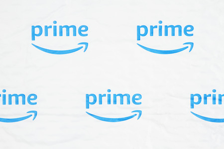 Photo for South Carolina, USA March 2019. Illustrative editorial image of the Amazon Prime log on a white plastic bubble envelop - Royalty Free Image