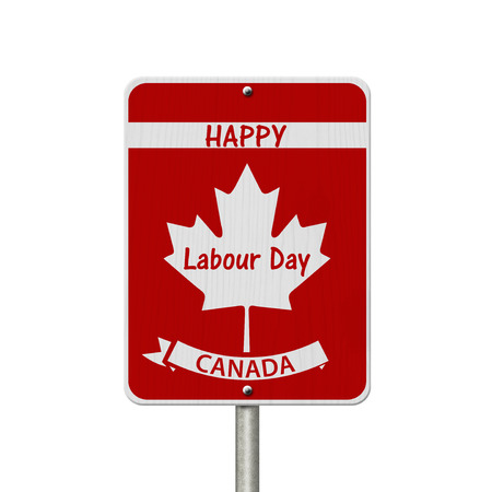 Photo pour Happy Labour Day Highway Sign, Canadian highway sign and text Happy Labour Day Canada isolated over white - image libre de droit