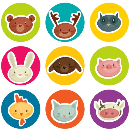 cartoon animal head stickers, vector illustration