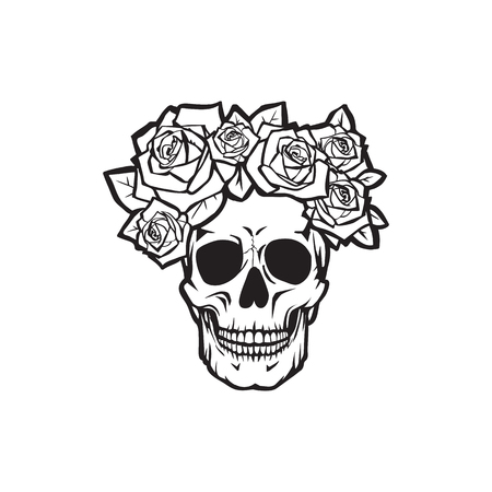 Illustration pour Human skull with  roses black and white , vector illustration  - image libre de droit