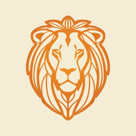 Ilustración de Lion head, illustration on light background. - Imagen libre de derechos