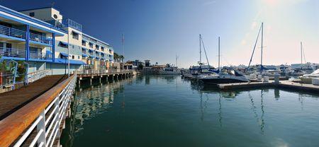 Photo pour Panorama of the marina at Jack London Square, Oakland, Califorina - image libre de droit