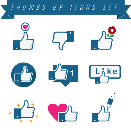 Illustrazione per Set of vetor thumbs up icons. Fully editable - Immagini Royalty Free