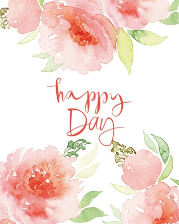 Illustration pour Watercolor greeting card flowers. Watercolor greeting card flowers. Handmade. Congratulations. - image libre de droit