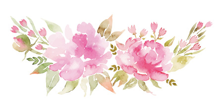 Illustration for Watercolor flowers peonies. Handmade greeting cards. Spring composition. - Royalty Free Image