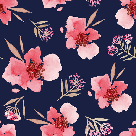Illustration pour Watercolor flowers seamless pattern. Suitable for packaging and wrapping paper. Handmade. - image libre de droit