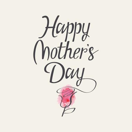 Illustration pour Hand lettering for Mothers Day. Watercolor. Flower. - image libre de droit