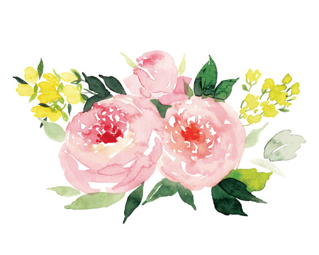 Illustration pour Watercolor greeting card flowers - image libre de droit
