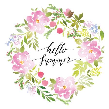 Illustration pour Watercolor greeting card flowers. Handmade. Congratulations. - image libre de droit