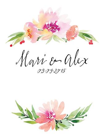 Illustration pour Watercolor greeting card flowers. Handmade. - image libre de droit
