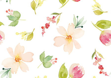 Ilustración de Watercolor flowers. Seamless pattern. Vector. Illustration. Gentle - Imagen libre de derechos