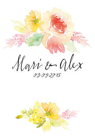 Illustration for Watercolor greeting card flowers. Handmade. - Royalty Free Image