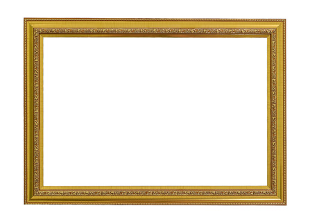 Photo for Gold vintage frame. Elegant vintage gold/gilded picture frame with beading. Isolated on white. - Royalty Free Image