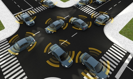 Photo for Autonomous cars on a road with visible connection - Royalty Free Image