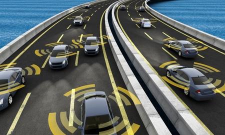 Foto de Autonomous cars on a road with visible connection - Imagen libre de derechos