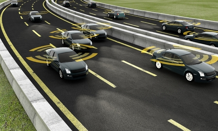 Foto de Autonomous cars on a road with visible connection - Imagen libre de derechos