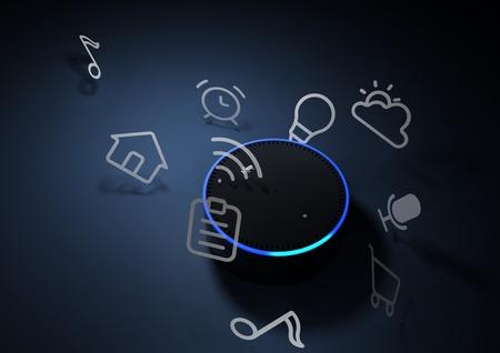 Foto de 3d rendering of Amazon Echo voice recognition system - Imagen libre de derechos