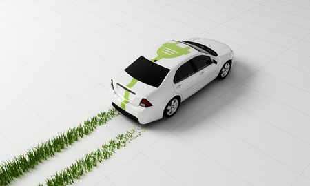 Photo pour 3d rendering of a Electric car concept - image libre de droit