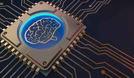 Foto de machine learning Brain symbol on circuit board 3d Rendering - Imagen libre de derechos