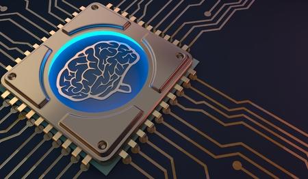 Photo pour machine learning Brain symbol on circuit board 3d Rendering - image libre de droit