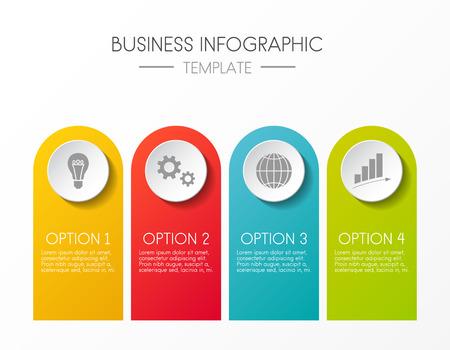 Ilustración de Template of an infographic. Graph with colourul icons. Vector. - Imagen libre de derechos