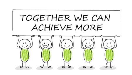 Illustration pour Hand drawn concept of stickman with business text: together we can achive more. Vector. - image libre de droit