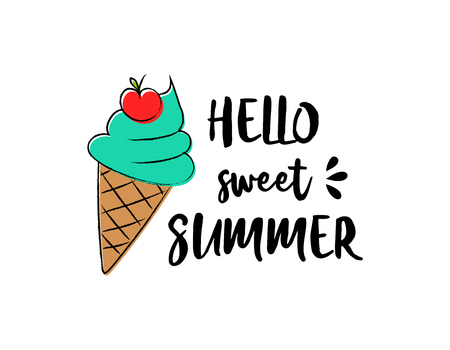 Illustration for Ice cream. Summer poster - hand drawn icon with funny text. - Royalty Free Image