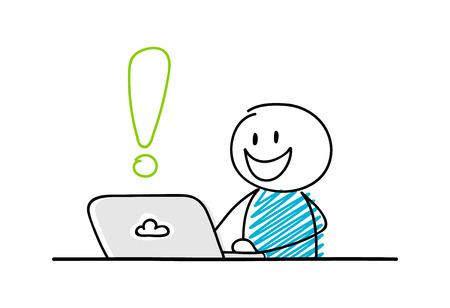 Ilustración de Funny stickman working on laptop - concept with exclamation point icon. Vector. - Imagen libre de derechos