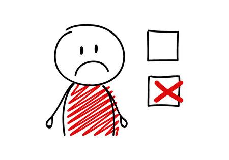 Illustrazione per Tick icon with sad stickman. Vector. - Immagini Royalty Free