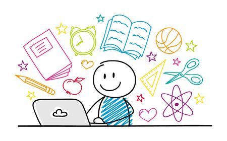 Illustration pour Happy stickman working on laptop - school concept. Vector. - image libre de droit