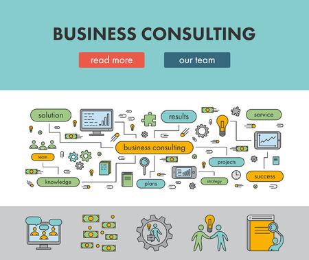 Ilustración de Line design concept banner for business consulting. Vector landing page - Imagen libre de derechos