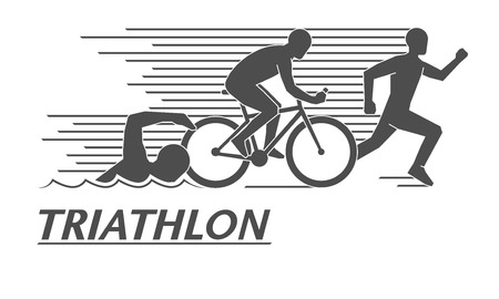 Illustrazione per Black flat logo triathlon. Vector figures triathletes on a white background. Swimming, cycling and running symbol. - Immagini Royalty Free