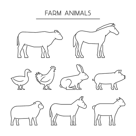Ilustración de Vector line set of farm animals. Silhouettes animals isolated on a white background. Linear icons cow, pig, rabbit, donkey, horse, goat, sheep, goose and chicken. - Imagen libre de derechos