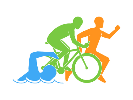 Illustrazione per Color vector linear and flat logo triathlon. Triathletes figures on a white background. Swimming, cycling and running symbol. - Immagini Royalty Free