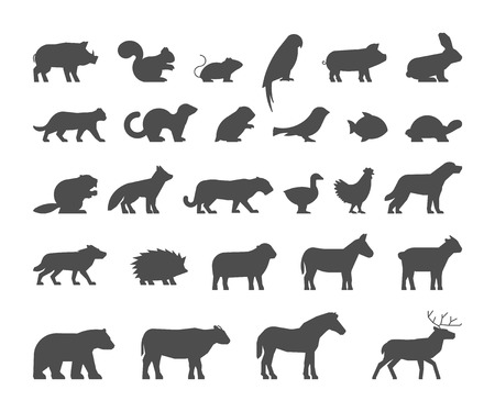 Illustration pour Black silhouettes farm and wild animals. silhouettes animals isolated. Black figure pets. Icon cow, bear, beaver, sheep, chicken and deer. - image libre de droit