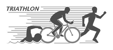 Illustrazione per Modern logo triathlon and figures triathletes - Immagini Royalty Free