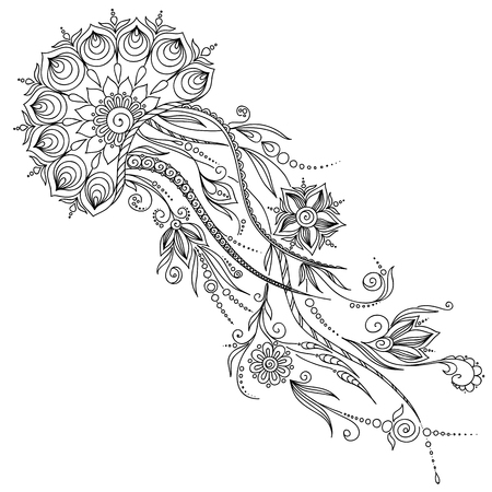 Illustration for Pattern for coloring book. Coloring book pages for kids and adults. Abstract graphic illustration of jellyfish in vector . Henna Mehndi Tattoo Style Doodles - Royalty Free Image