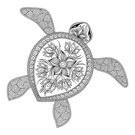 Illustration pour Pattern for coloring book. Coloring book pages for kids and adults. Decorative graphic turtle. Henna Mehndi Tattoo Style Doodles - image libre de droit