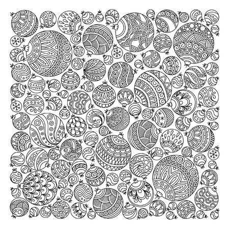 Illustration pour Pattern for coloring book. Christmas hand-drawn decorative elements in vector. Fancy Christmas ball from balls . Pattern for coloring book. Black and white pattern. Zentangle. Doodles. - image libre de droit