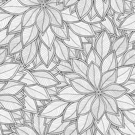 Illustration for Abstract grey seamless pattern with leaves. Vector illustration. - Royalty Free Image