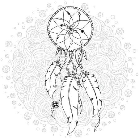 Illustration for Monochrome Dream Catcher with feathers. Hand drawn vector illustration in doodle  style. Sketch for tattoo, t-shirt design, post card. Boho style - Royalty Free Image