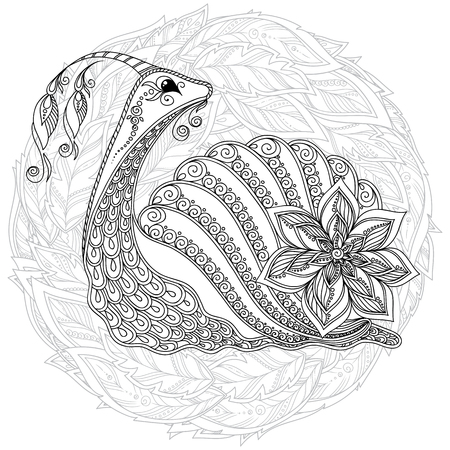 Illustration for stylized cartoon snail, isolated on white background. Sketch for adult antistress coloring page. Hand drawn doodle,  floral design elements for coloring book. - Royalty Free Image