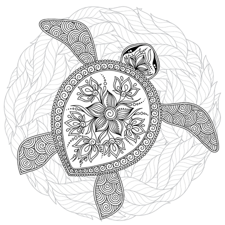 Illustration pour Coloring book for adults. Coloring page. Turtle with different ornaments. Hand drawn illustration in boho and style. - image libre de droit