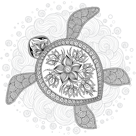 Illustration pour Graphic Hawksbill sea turtle drawn in line art style. Ocean vector creature isolated on white background. Top view. Coloring book page design for adults and kids - image libre de droit
