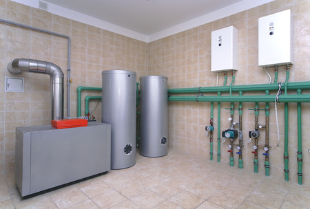 Photo for Boiler room with a heating system in a private house - Royalty Free Image