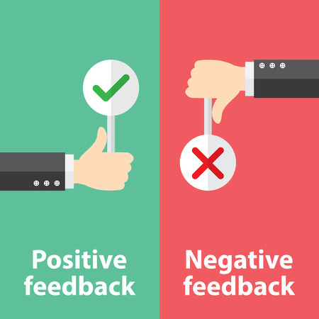 Illustrazione per Business hand thumb up with true and false sign. Vector illustration of positive and negative feedback concept. Minimal and flat design - Immagini Royalty Free