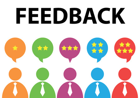 Illustration pour People give star rating to feedback. Vector illustration. Flat design. Reviews and discussion concept - image libre de droit