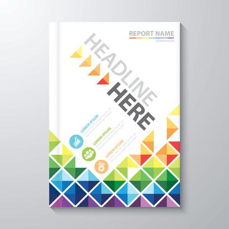 Ilustración de Abstract colorful low polygon background. Cover design template layout in A4 size for annual report, brochure, flyer, Vector illustration - Imagen libre de derechos