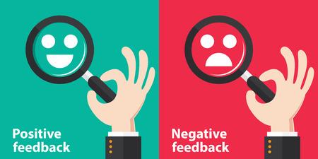 Illustrazione per Positive and Negative feedback concept background. Vector illustration. Minimal and flat design - Immagini Royalty Free