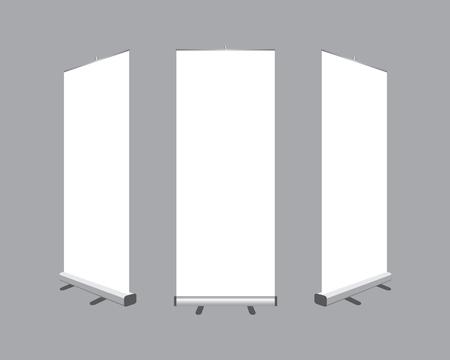 Ilustración de Set of Blank roll up  banners display template isolated on gray background. Vector illustration. Mockup for design - Imagen libre de derechos